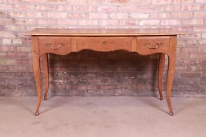Baker Furniture French Provincial Louis XV Walnut and Burl Wood Writing Desk