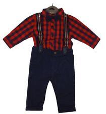 Kinder Baby Boys Spanish Style Romany Red Tartan Bow Romper /& Waistcoat Outfit
