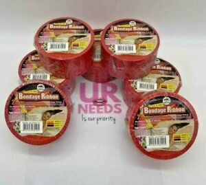 """7pc Red Non-Sticky Soft Durable SMBondage Pleasure Ribbon Tape 2""""Wide 60FT Long"""