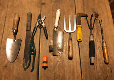VINTAGE JOBLOT OF SMALL GARDEN TOOLS TROWEL FORK PRUNING SECATEURS VINTAGE TOOLS