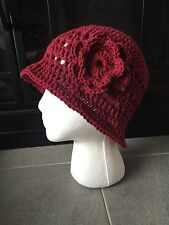 Women's 1920's Downton Abbey Inspired Cloche Hat, Sun Hat, 100% Cotton, Wine Red