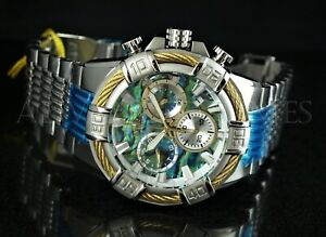 Invicta 51mm Bolt ABALONE Dial Swiss Chronograph Gold Bezel Silver SS Watch NEW