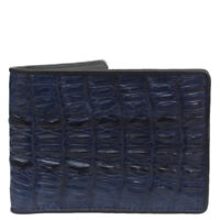Dark Blue Genuine Crocodile Alligator Tail Skin Leather Men's Bifold Wallet