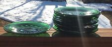 "12 Early Cut Glass Emerald Green 8"" Plates"