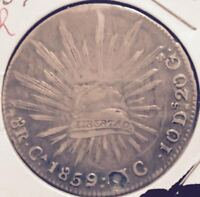 1859  MEXICO  SILVER  8 REALES  CHIHUAHUA  CAP & RAYS
