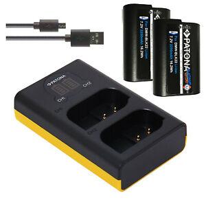 2x Akku DMW-BLK22 | Dual Ladegerät für Panasonic Lumix DC-S5 G9 GH5 GH5S | SET