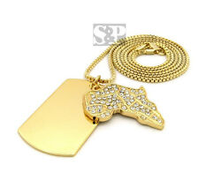 """2mm 30"""" Box Chain Hip Hop Necklace Sprc305 Iced Out Africa & Dog Tag Pendant &"""