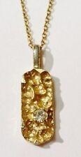 pendentif chaîne bijou vintage pépite en relief solitaire cristal diamant 1965