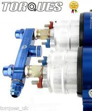 Twin bosch 044 pompe à combustible montage en aluminium billet sortie collecteur en bleu