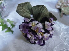 1 VELVET MILLINERY FLOWERS - BUNCH OF PURPLE & MAUVE VIOLAS
