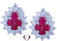 1.56CT Ruby and Diamond Earrings F VS 18K White Gold