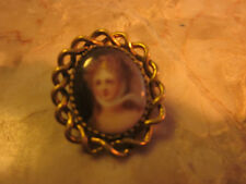 Handpainted Porcelain Diana Pin Pretty Small Doll Pin Victorian