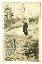 Man Catching Fish Postcard 1920s Unused Rppc