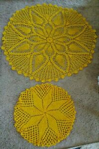 Vintage Yellow Round Crochet Tablecloth and Large Doily