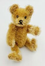 """Early Blonde Jointed Mohair 4"""" Miniature Teddy Bear"""