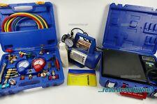 AC R134A R32 R410a Refrigerant Vacuum Pump Gauge manifold Set Kit Split tool