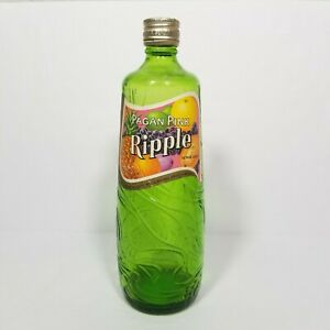 """VTG Old Ripple Wine Bottle Pagan Pink Green Sculpted Label & Cap Intact 10"""""""