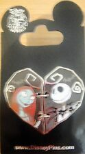 Disney- NBC-Jack Skellington and Sally Two Piece Heart Pin - New on Card