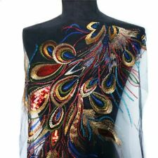 Embroidered Gown Sequin Peacock For Wedding Feather Lace Fabric Mesh Sew Patches