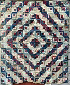 19th c.Log Cabin Quilt in Good Condition-No Res