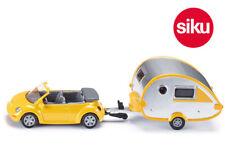 Siku 1629 VW Beetle Cabrio with Teardrop Caravan Die-Cast Small 1:55 Scale