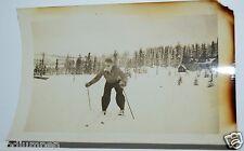 Vintage 1940's Skier Cross Country Skiing Black & White Photograph Photo FAIR