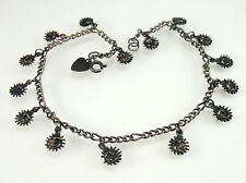 Blackened Sterling Silver Sun Charm Anklet