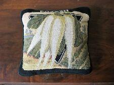 """Radish Vegetable Wool Needlepoint Pillow Greens White Black 9.5"""" Velveteen Back"""