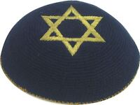 Holyland Blue Star of David Knitted Kippah Yarmulke Tribal Jewish Yamaka Kippa