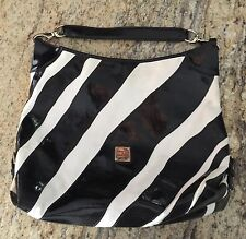 DOONEY BOURKE Large Leather HOBO Handbag Purse Black White Zebra