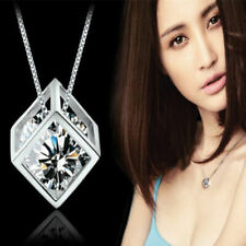 Womens Jewelry Magic Cube Silver Crystal Chain Fashion Necklace Pendant Gift