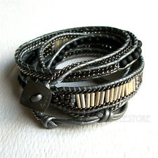 Nakamol 5 Wrap up Black Stone, Glass & Seed Beads, Gunmetal andLeather Bracelet