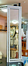 Full Length Acrylic Crystal Diamante Glass Bevelled Wall Mirror 150x40cm White