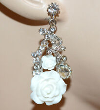 PENDIENTES blancos mujer cristales colgantes plata strass brincos earrings BB6
