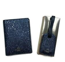 Coach Glitter Travel Set Passport Holder And Luggage Tag Navy Blue