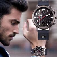 Waterproof Men's Date Stainless Steel Leather Analog Quartz Sport Wrist Watch US