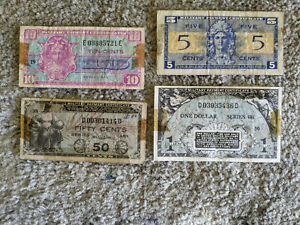 Military Payment Certificates Set of 4 Different MPCs! War Time! Old US Currency