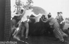 Vtg B&W 1920's - 1930's BETA PHI Frat Photo (HAZING) Boys Pushing Big Ball