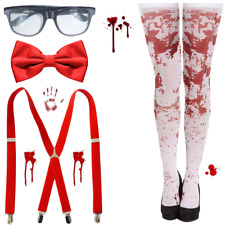 NEW 4PCs ZOMBIE SCHOOL GIRLS NERD HORROR HALLOWEEN FANCY DRESS COSTUME BLOOD SET