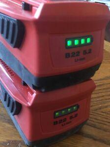 2  Hilti CPC B22  5.2Ah  Li-Ion Cordless Tool Batteries