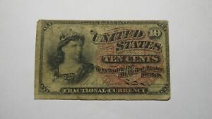 1863 $.10 Fourth Issue Fractional Currency Obsolete Bank Note Bill! 4th RARE!