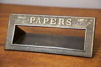 Antique Brass Door Slot Papers Newspaper Mailbox drop box old vintage Hardware