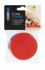 3 X CAN COVERS FOR CAT, DOG, CAN FOOD COVER, FITS STANDARD SIZE TIN, PLASTIC LID