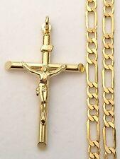 Religious 10k yellow Gold  Jesus NRI Crucifix Cross Pendant Charm Figaro Chain