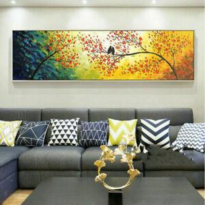 YA701 Wall decor Canvas Large Happy birds 100% Hand-painted Unframed