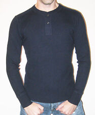 Ralph Lauren Polo 100% Cashmere Navy Rib Knit Henley Sweater - Size Small