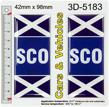 2x SCO Scotland Number Plate Sticker Decals Badges SCO Flags 3D Resin Gel Domed