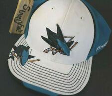 NHL San Jose Sharks Hat Reebok L XL Flex Fit Stretch Embroidered Cap white