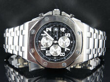 Men Jewelry Unlimited Solid White Gold Finish Steel Black Dial Chronograph Watch