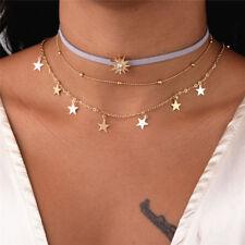 Trendy Women Sun Star Tassel Copper Multi-Layer Leather Charm Choker Necklace